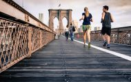 Aerobics and Healthy Eating – Runners on Bridge